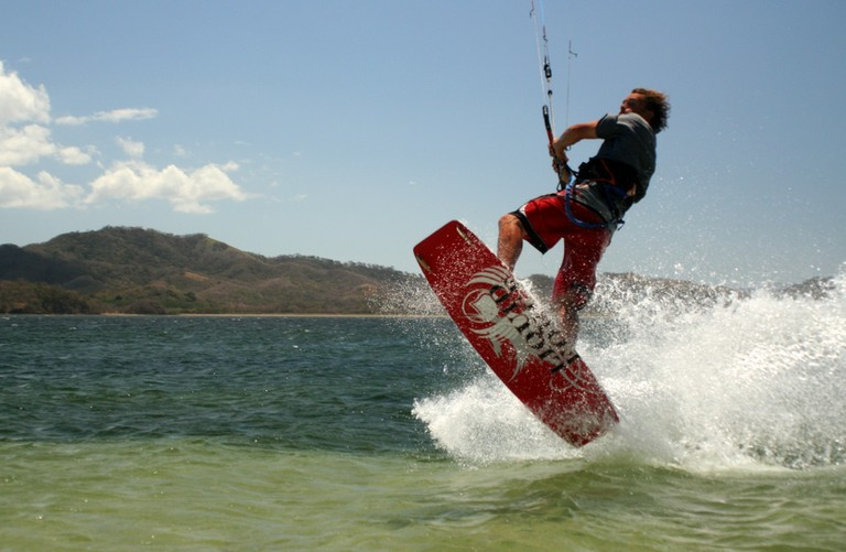 Kiteboarding and kitesurfing school professional instructor costa rica top wind destination of central america bahia salinas take off for some big air.jpg - big