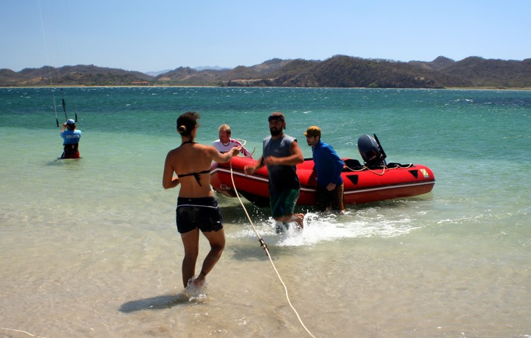 Kiteboarding and kitesurfing school professional instructor getting students started in costa rica top wind destination of central america bahia salinas.jpg - big