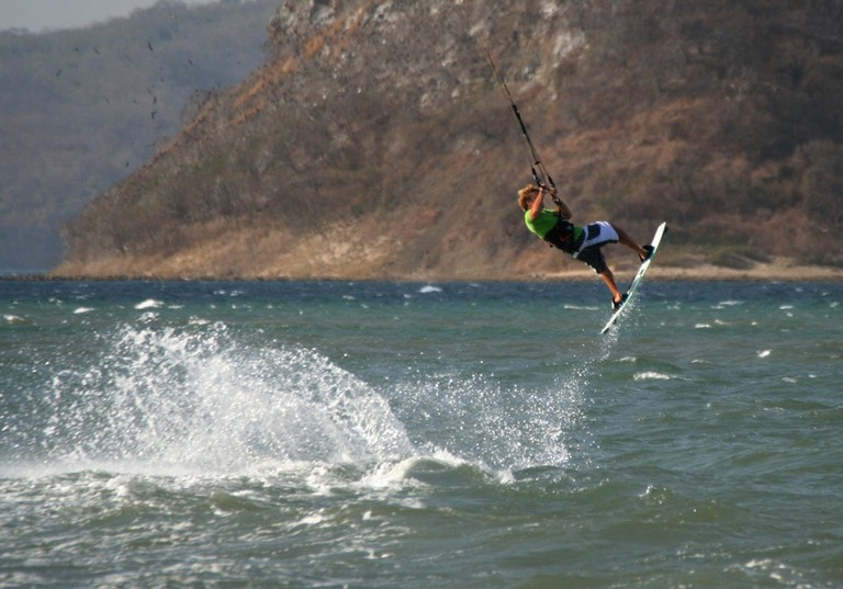 Kiteboarding Costa Rica Air takeoff with another amazing day with the guys from the kite house in bahia salinas.jpg - big